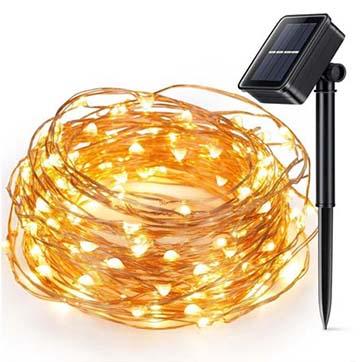 sluneční energie měděné vodiče řetězu světla